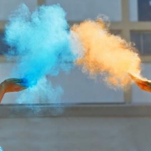 Holi orange blue